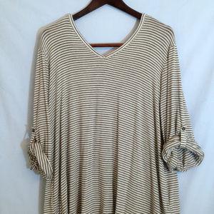 Liz Claiborne Gray & White Striped V-neck Tunic